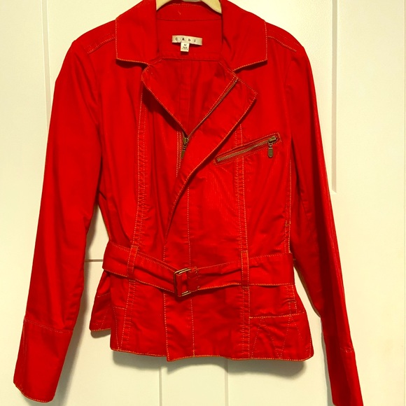 CAbi Jackets & Blazers - Vintage Cabi moto-inspired red jacket with belt